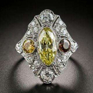 Art Deco 2.12 Carat Fancy Intense Moval Diamond Ring - GIA - 2