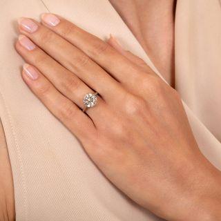 Art Deco 2.17 Carat Diamond Solitaire Engagement Ring - GIA L VVS2