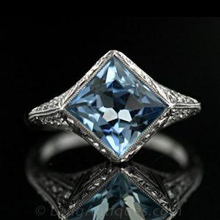 Art Deco 2.25 Carat Aquamarine and Diamond Ring