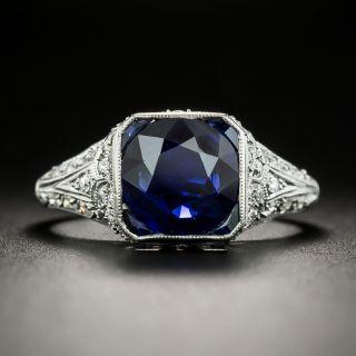 Art Deco 2.25 Carat No-Heat Sapphire and Diamond Ring - 2