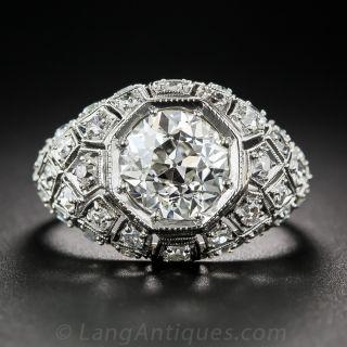 Art Deco 2.28 Carat Diamond Engagement Ring - GIA J VS2 - 1