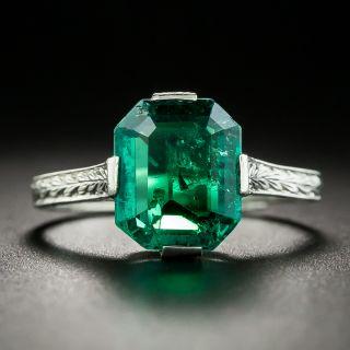 Art Deco 2.30 Carat Emerald Engagement Ring - 3