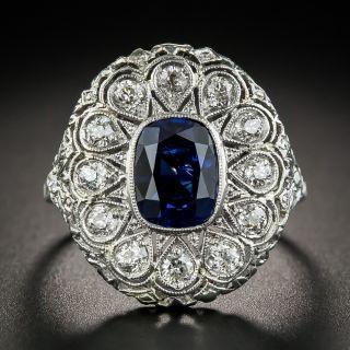 Art Deco 2.30 Carats Natural Ceylon Sapphire Platinum Diamond Ring - 1