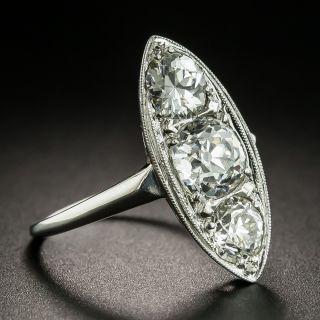 Art Deco 2.35 Carats Three-Stone Diamond Dinner Ring
