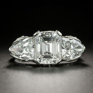 Art Deco 2.42 Carat Center Diamond Emerald-Cut Diamond Three-Stone Ring - GIA D