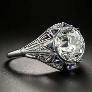 Art Deco 2.42 Carat Diamond and Calibre Sapphire Engagement Ring