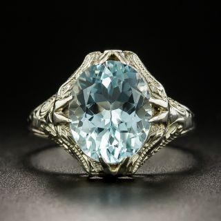 Art Deco 2.50 Carat Aquamarine Filigree Ring - 4