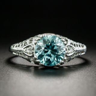 Art Deco 2.50 Carat Blue Zircon Ring - 2