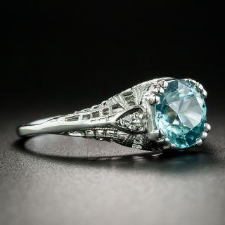 Art Deco 2.50 Carat Blue Zircon Ring