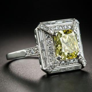 Art Deco 2.51 Fancy Intense Yellow Diamond Ring - GIA