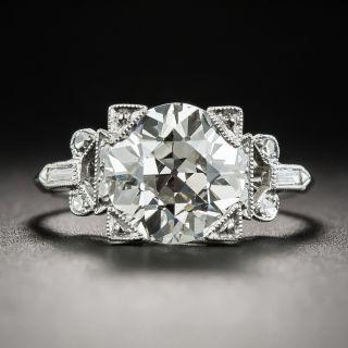 Art Deco 2.70 Carat Diamond Platinum Engagement Ring GIA - K VS2  - 1