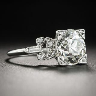 Art Deco 2.67 Carat Diamond Platinum Engagement Ring GIA - K VS2