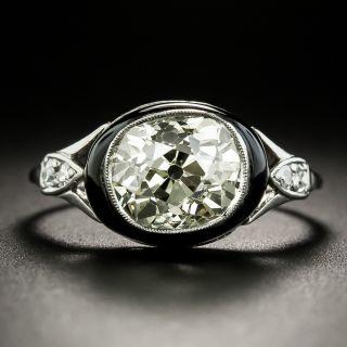 Art Deco 2.75 Carat Antique Cushion Cut Diamond and Onyx Ring - 2