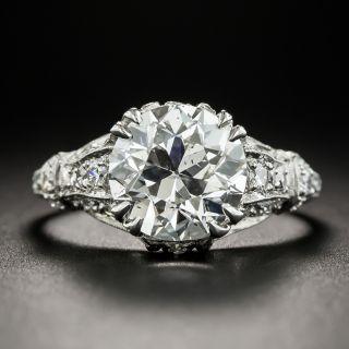Art Deco 2.91 Ct. Platinum Diamond Engagement Ring - GIA H SI2 - 2