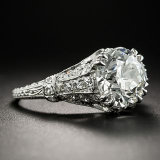 Art Deco 2.91 Carat Platinum Diamond Engagement Ring - GIA H SI2