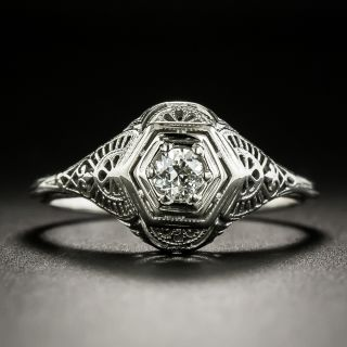Art Deco .20 Carat Diamond Filigree Engagement Ring - 1