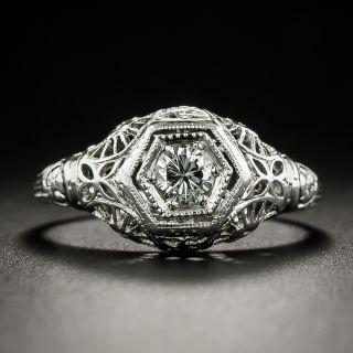 Art Deco .21 Carat Diamond Engagement Ring By Peacock - 2