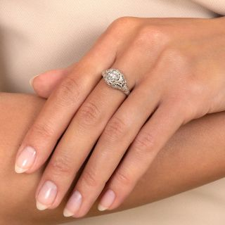 Art Deco .21 Carat Diamond Engagement Ring By Peacock