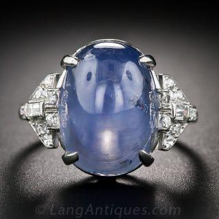 Art Deco 22.00 Carat Star Sapphire Platinum Diamond Ring