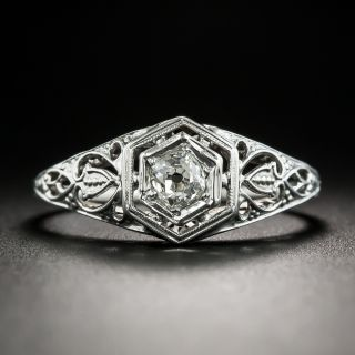 Art Deco .25 Carat Diamond Solitaire Engagement Ring - 2