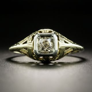 Art Deco .28 Carat Diamond Engagement Ring by Oscar E. Place & Sons - 2