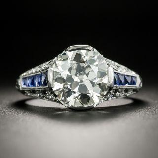Art Deco 3.10 Carat Diamond and Calibre Sapphire Engagement Ring - GIA L VS1 - 3