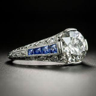 Art Deco 3.10 Carat Diamond and Calibre Sapphire Engagement Ring - GIA L VS1