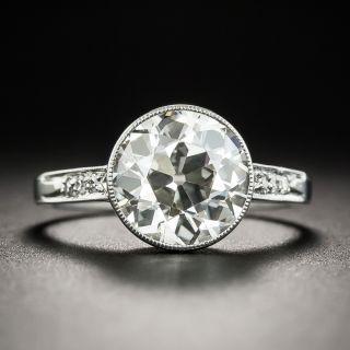 Art Deco 3.17 Carat Diamond Platinum Engagement Ring - GIA L VS2 - 1
