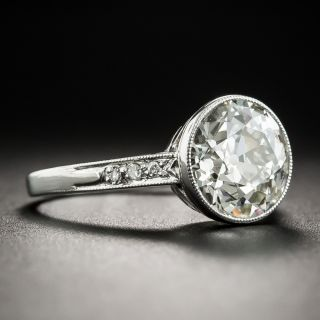 Art Deco 3.17 Carat Diamond Platinum Engagement Ring - GIA L VS2