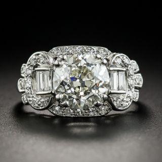 Art Deco 3.17 Carat Platinum Diamond Ring - GIA M VS1
