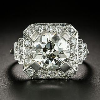 Art Deco 3.18 Carat Diamond Engagement Ring - GIA L I1 - 3