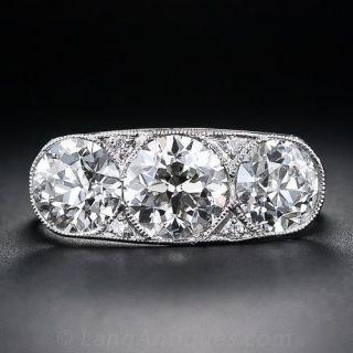 Art Deco 3.18 Carat Total Three-Stone Diamond Ring - 1