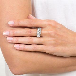 Art Deco 3.18 Carat Three-Stone Platinum Diamond Ring
