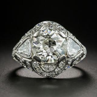 Art Deco 3.19 Carat Diamond Platinum Engagement Ring - GIA M VS2 - 2