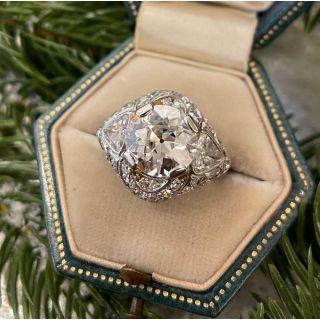 Art Deco 3.19 Carat Diamond Platinum Engagement Ring - GIA M VS2
