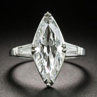 Art Deco 3.19 Ct.  Marquise Platinum Diamond Ring - GIA D VS1 - 2