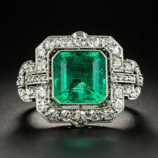 Art Deco 3.70 Ct. Emerald Platinum Diamond Ring - 2