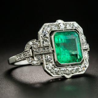 Art Deco 3.70 Carat Emerald Platinum Diamond Ring
