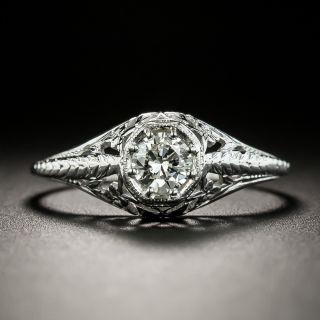 Art Deco .30 Carat Diamond Solitaire Engagement Ring - 3