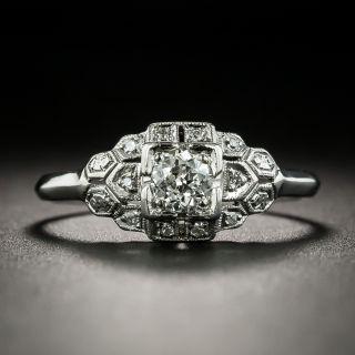 Art Deco .32 Carat Diamond Platinum Engagement Ring - 2