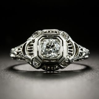 Art Deco .33 Carat Diamond Filigree Ring - 1