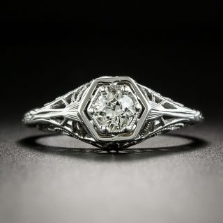 Art Deco .35 Carat Diamond Solitaire Engagement Ring - 2