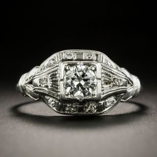 Art Deco .38 Carat Diamond Engagement Ring - 1