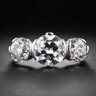 Art Deco 4.10 Carats Diamond Three-Stone Ring - GIA - 1