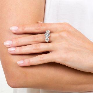 Art Deco 4.10 Carats Diamond Three-Stone Ring - GIA