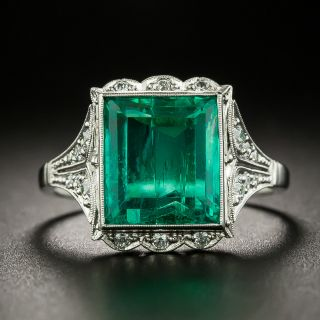 Art Deco 4.44 Carat Natural Untreated Colombian Emerald and Diamond Ring - AGL - 3