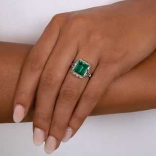 Art Deco 4.44 Carat Natural Untreated Colombian Emerald and Diamond Ring - AGL