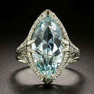 Art Deco 4.50 Carat Marquise-Cut Aquamarine Ring  - 3