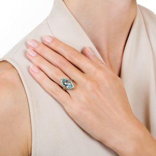 Art Deco 4.50 Carat Marquise-Cut Aquamarine Ring