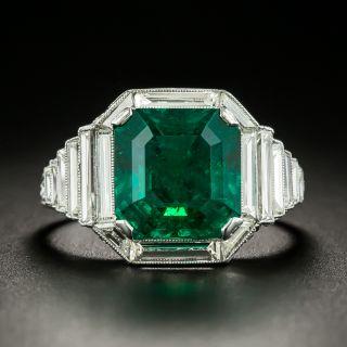 Art Deco 4.69 Carat Fine Emerald and Diamond Ring - GIA F1 - 4